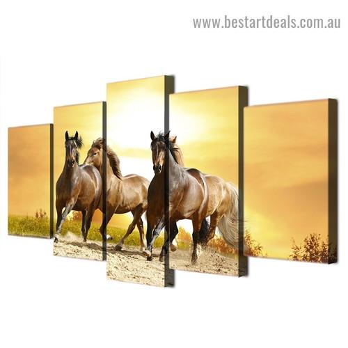 Wild Horses Running Animal Landscape Modern Artwork Portrait Canvas Print for Room Wall Décor