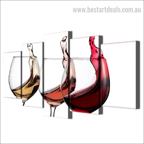 Wine Glasses Contemporary Food and Beverages Modern Framed Painting Pic Canvas Print