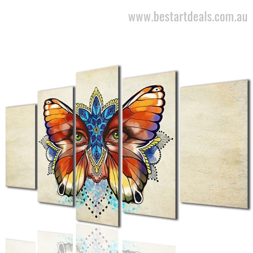 Fantasy Butterfly Eyes Animal Modern Framed Smudge Picture Canvas Print