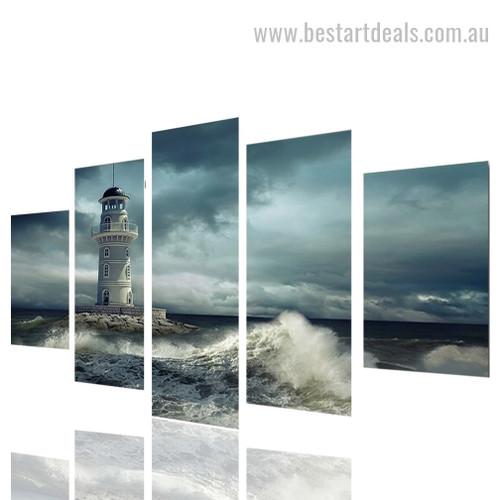 Oceanic Lighthouse Nature Seascape Modern Framed Portraiture Pic Canvas Print