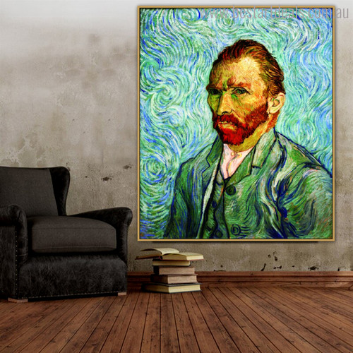 Self Portrait Vincent Van Gogh Impressionist Reproduction Figure Painting Print for Room Wall Outfit