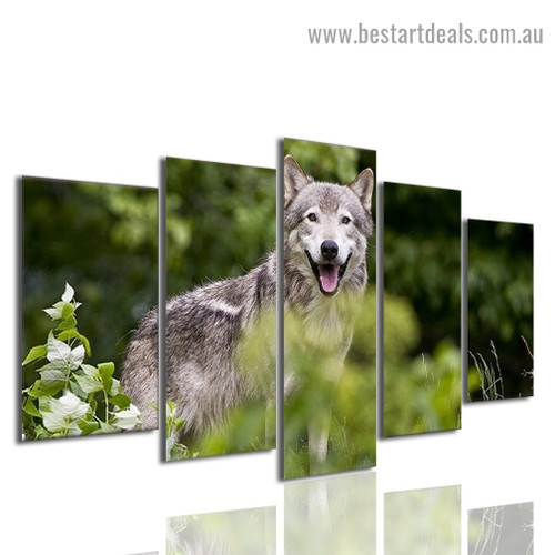 Forest Wolf Animal Landscape Modern Artwork Image Canvas Print for Room Wall Decoration
