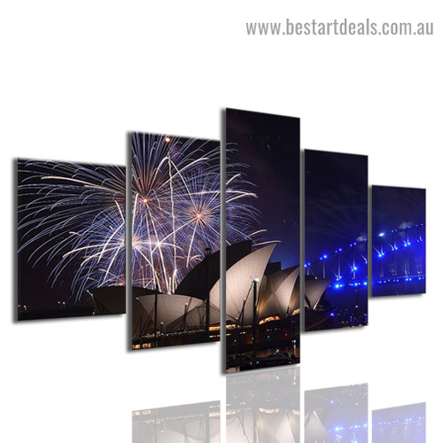 Opera House Cityscape Modern Artwork Photo Canvas Print for Room Wall Adornment