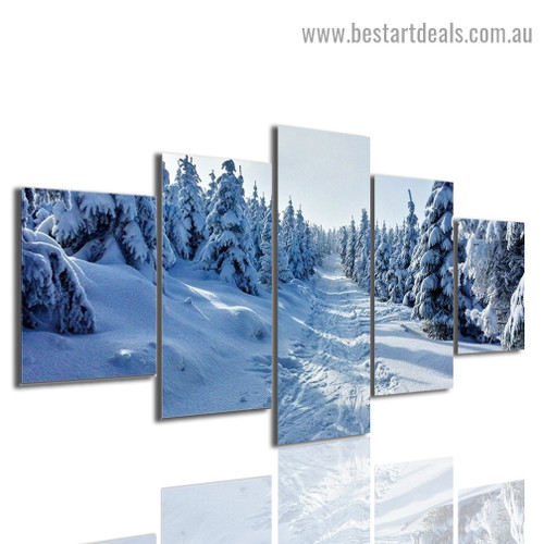 Snowy Pine Forest Landscape Modern Artwork Picture Canvas Print for Room Wall Art Garniture