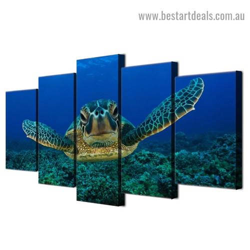 Deep Sea Turtle Animal Seascape Modern Artwork Photo Canvas Print for Room Wall Ornament