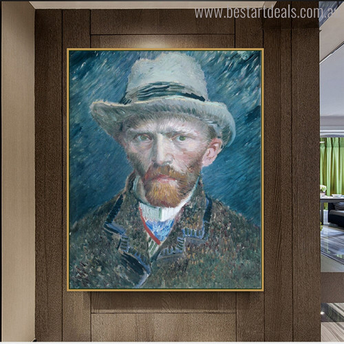 Self Portrait Vincent Van Gogh Impressionist Reproduction Figure Painting Print for Wall Disposition