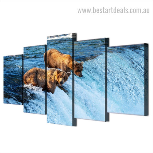 Grizzly Bears Animal Landscape Modern Framed Effigy Pic Canvas Print