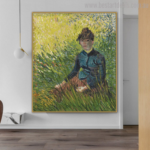 Woman Sitting Vincent Van Gogh Impressionist Botanical Reproduction Figure Painting Print for Wall Getup