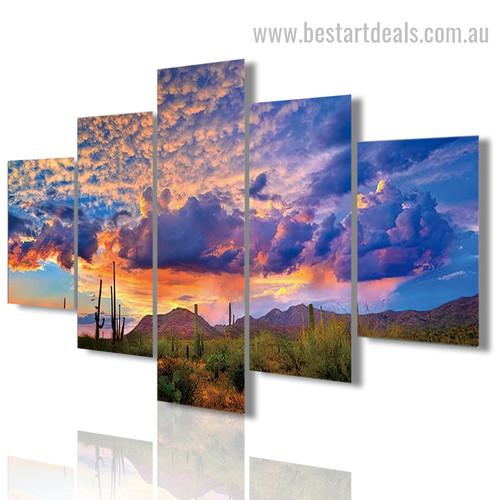 Arizona Desertscape Landscape Modern Framed Painting Photo Canvas Print