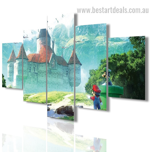 Beautiful Castle Architectural Landscape Modern Framed Painting Portrait Canvas Print