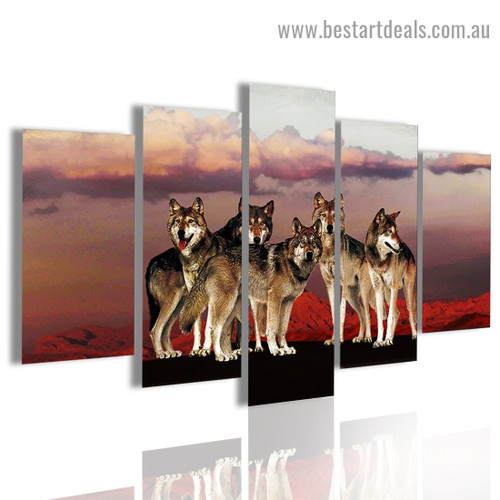 Wolves Cluster Animal Landscape Modern Artwork Picture Canvas Print for Room Wall Décor