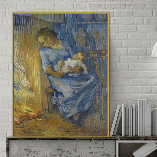 Woman with Child Vincent Van Gogh Impressionist Reproduction Figure Painting Print for Study Room Wall Getup