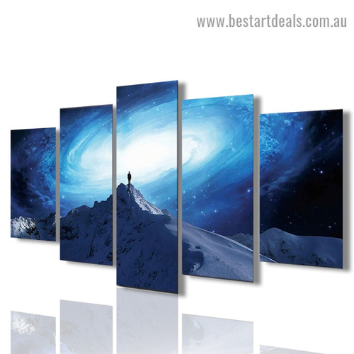 Sky Mountain Landscape Nature Modern Artwork Image Canvas Print for Room Wall Ornament