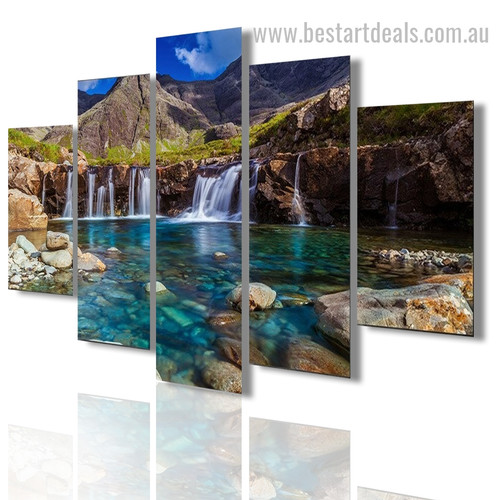 Astonishing Waterfall Nature Landscape Modern Framed Effigy Picture Canvas Print