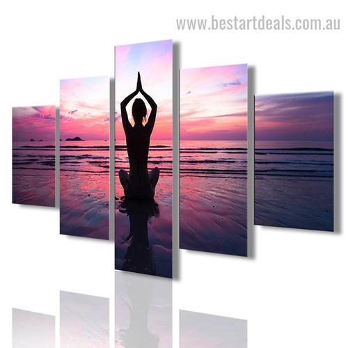Seascape Yoga Figure Nature Sports Framed Portraiture Pic Canvas Print