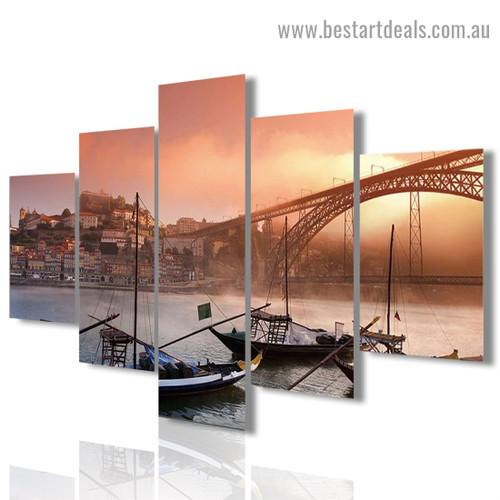 Dom Luis Bridge Cityscape Modern Artwork Photo Canvas Print for Room Wall Adornment