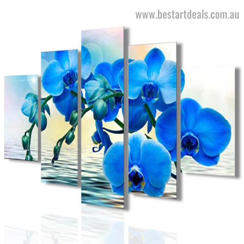 Blue Orchid Flowers Botanical Modern Artwork Image Canvas Print for Room Wall Ornament
