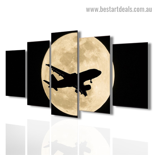 Moon Airplane Travel Modern Artwork Picture Canvas Print for Room Wall Adornment