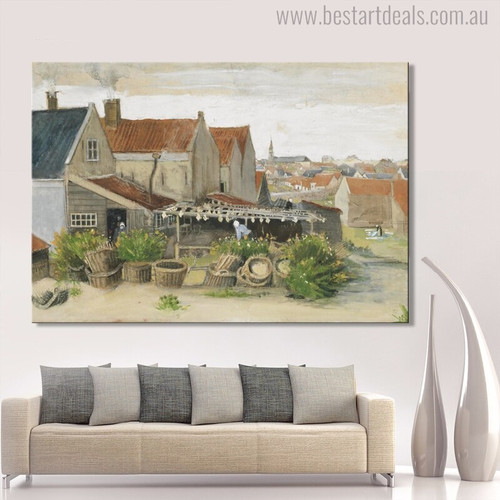 Drying House at Scheveningen Vincent Van Gogh Impressionist Cityscape Reproduction Painting Canvas Print for Living Room Wall Ornament