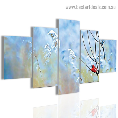 Cardinal Red Bird Botanical Modern Artwork Photo Canvas Print for Room Wall Adornment