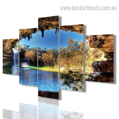 Hamilton Pool Reserve Nature Landscape Modern Framed Painting Photo Canvas Print