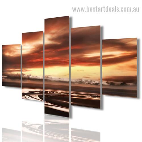 Eventide Nature Seascape Modern Framed Portraiture Pic Canvas Print