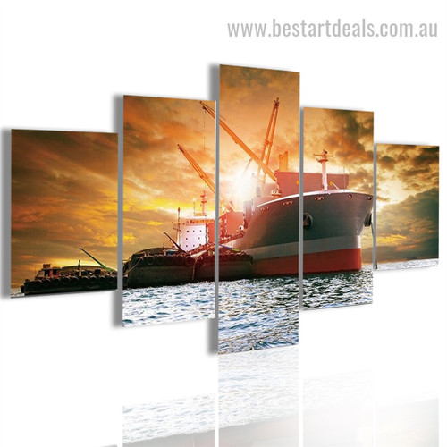 Giant Ship Travel Seascape Modern Framed Painting Image Canvas Print