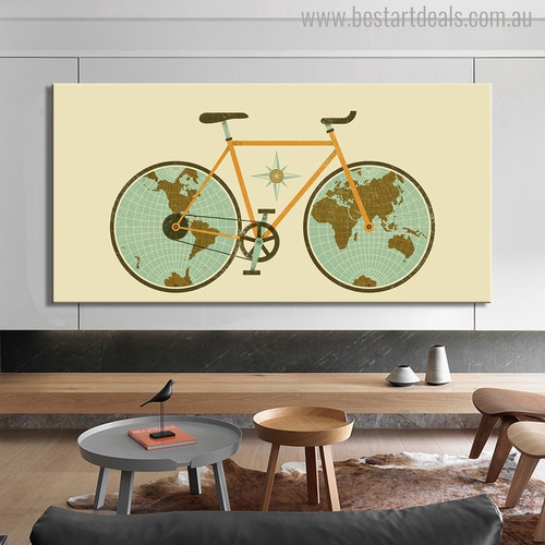 Map Wheels Modern World Map Painting Canvas Print for Room Wall Finery