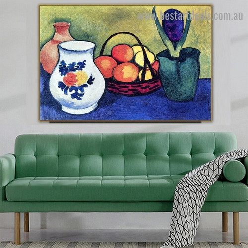 White Jug August Macke Still Life Reproduction Expressionist Painting Picture Canvas Print for Room Wall Adornment