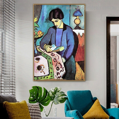 Wife Artist August Macke Figure Expressionist Portrait Image Canvas Print for Room Wall Adornment