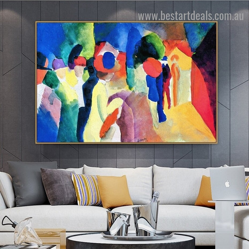 Yellow Jacket August Macke Abstract Expressionist Portrait Photo Canvas Print for Room Wall Garniture