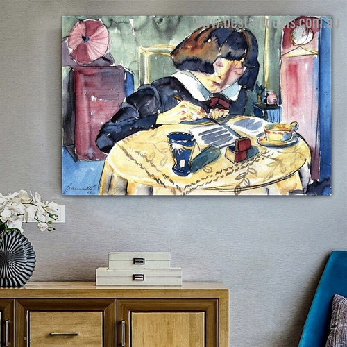 Writing Girl Walter Gramatté Figure Expressionist Portrait Photo Canvas Print for Room Wall Decoration