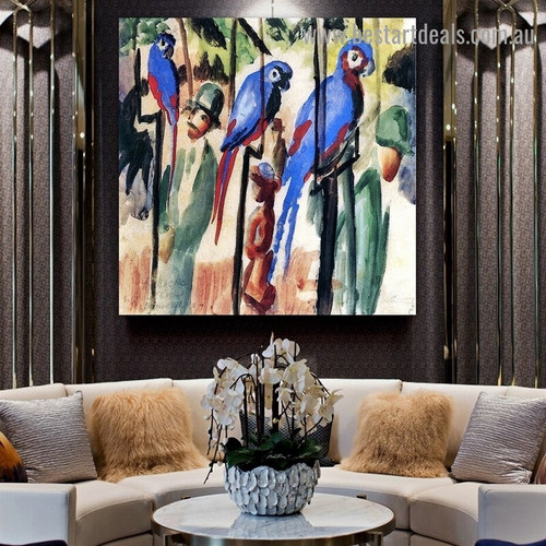 Blue Parrots August Macke bird Expressionist Portrait Painting Canvas Print for Room Wall Adornment