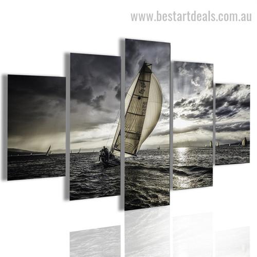 Sea Sailing Travel Nature Landscape Modern Framed Portraiture Portrait Canvas Print