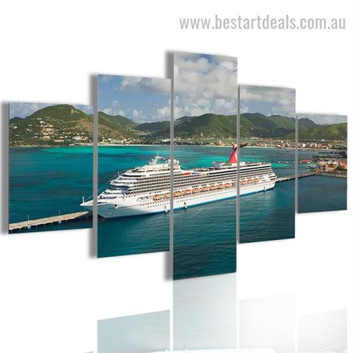 Large Ship Seascape Modern Framed Artwork Image Canvas Print