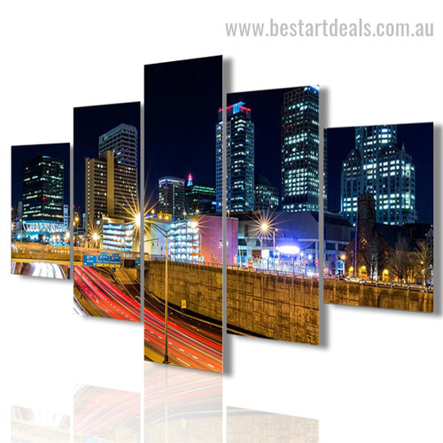 City Spot Nightscape Cityscape Modern Framed Artwork Photo Canvas Print