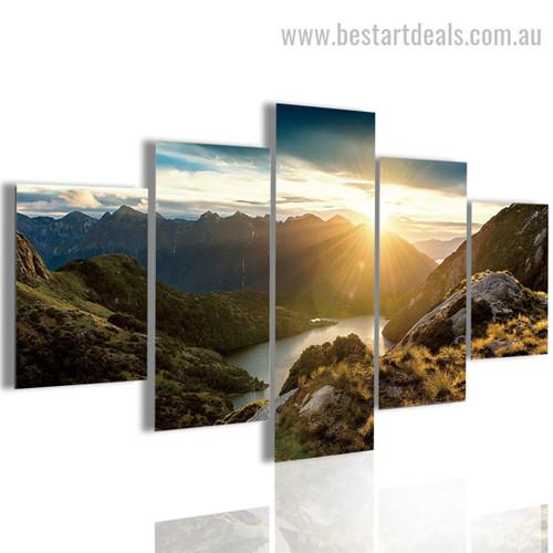 Sunrise Scenery Nature Landscape Modern Framed Smudge Picture Canvas Print