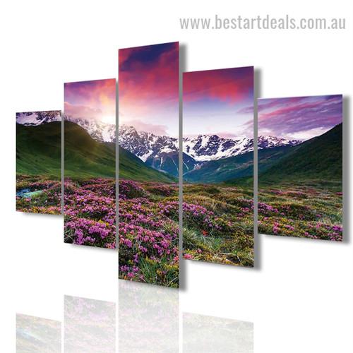 Floral Land Botanical Landscape Modern Framed Painting Pic Canvas Print
