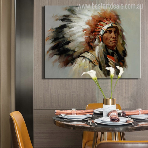 Indian Tribal Figure Abstract Modern Painting Canvas Print for Home Wall Decor