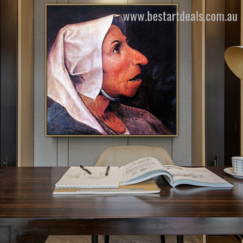 Head of a Peasant Woman Pieter Bruegel Figure Renaissance Painting Picture Canvas Print for Room Wall Ornament