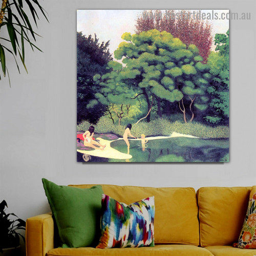 Bathers Wood Félix Edouard Vallotton Nude Landscape Impressionism Portrait Picture Canvas Print for Room Wall Ornament