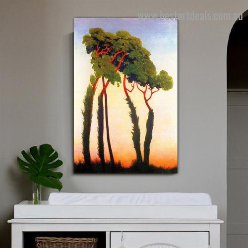 Five Trees Félix Edouard Vallotton Botanical Impressionism Portrait Image Canvas Print for Room Wall Adornment
