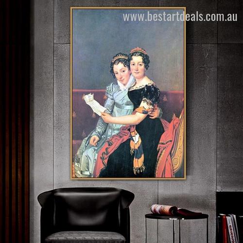 Portrait of the Sisters Zenaide and Charlotte Bonaparte Jacques Louis David Figure Neoclassicism Effigy Image Canvas Print for Room Wall Drape