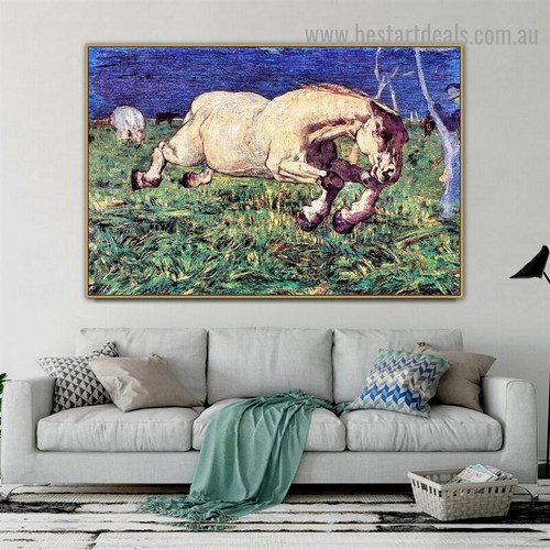 Galloping Horse Giovanni Segantini Animal Symbolist Portrait Painting Canvas Print for Room Wall Adornment