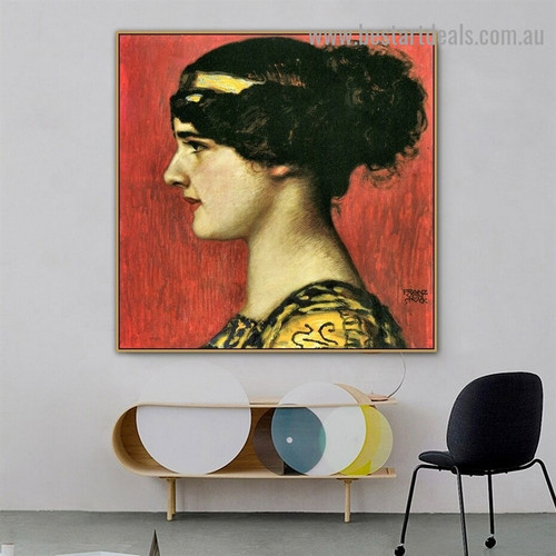 Mary As a Greek Franz Von Stuck Figure Symbolist Portrait Picture Canvas Print for Room Wall Adornment