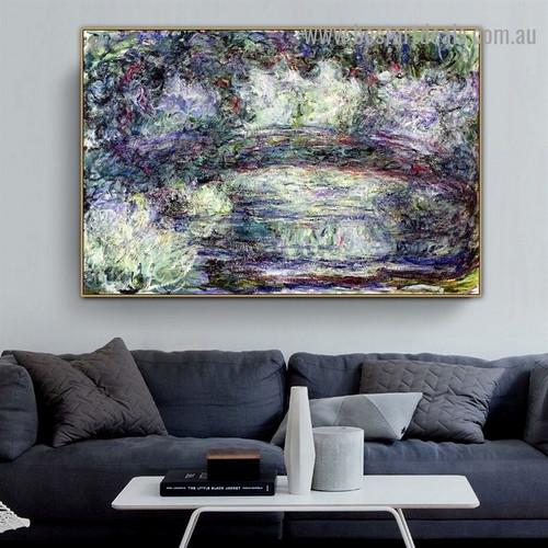 Pont Japonais Japanilainen Silta Oscar Claude Monet Landscape Abstract Impressionist Portrait Painting Canvas Print for Room Wall Décor