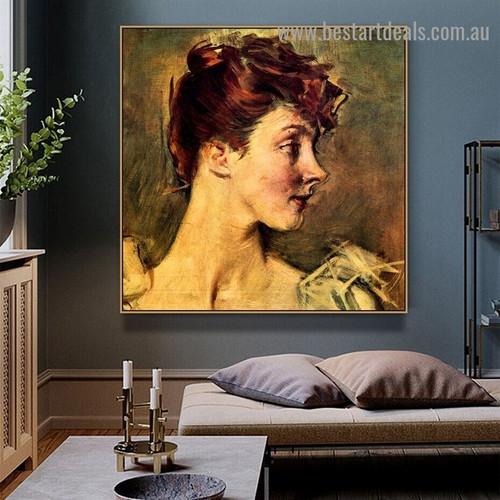 Portrait of Countess De Leusse Giovanni Boldini Figure Realism Portrait Painting Canvas Print for Room Wall Decoration