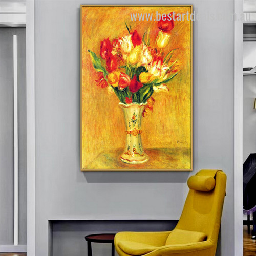 Tulips In a Vase Pierre Auguste Renoir Botanical Impressionism Artwork Pic Canvas Print for Room Wall Decor