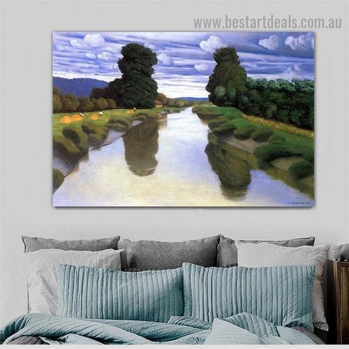 The River at Berville Félix Edouard Vallotton Nature Landscape Impressionism Portrait Picture Canvas Print for Room Wall Adornment