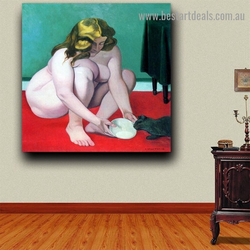 Woman with Cat Félix Edouard Vallotton Nude Impressionism Artwork Photo Canvas Print for Room Wall Garniture